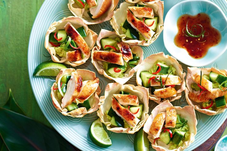 from twice cooked honey five spice chicken wonton cups a riot of ...