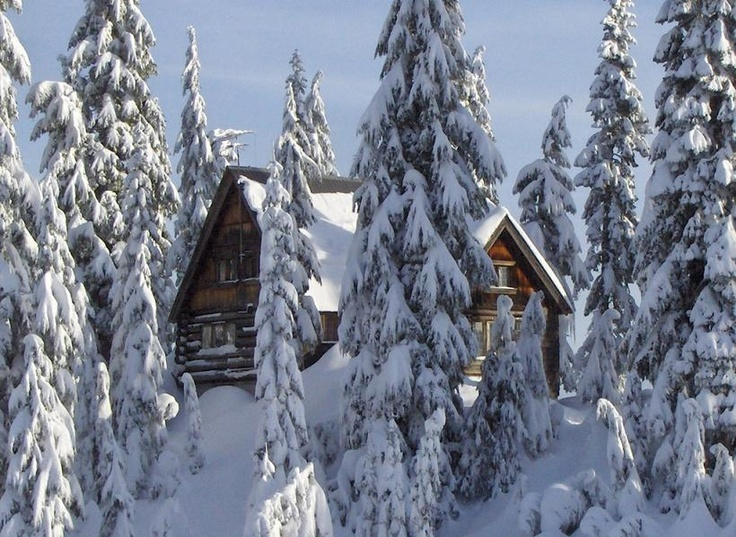 Log Cabin in the Snow- Mount Seymour, North Vancouver, British Columbia