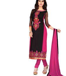Buy Black embroidered chanderi semi stitched salwar with dupatta party-wear-salwar-kameez online