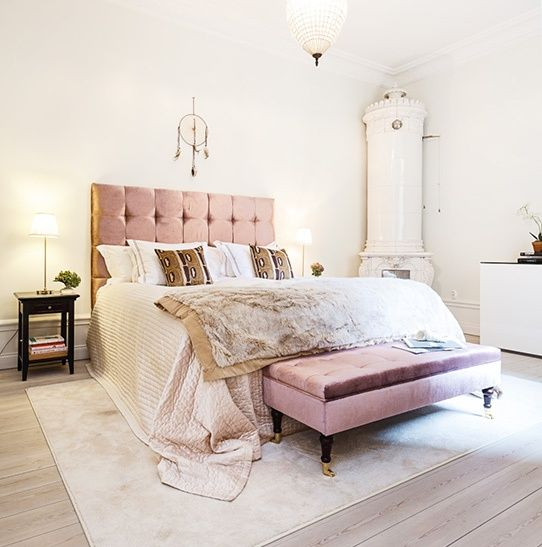 I'm thinking maybe this colour pink hinted throughout my bedroom, with pale, warm yellow walls.