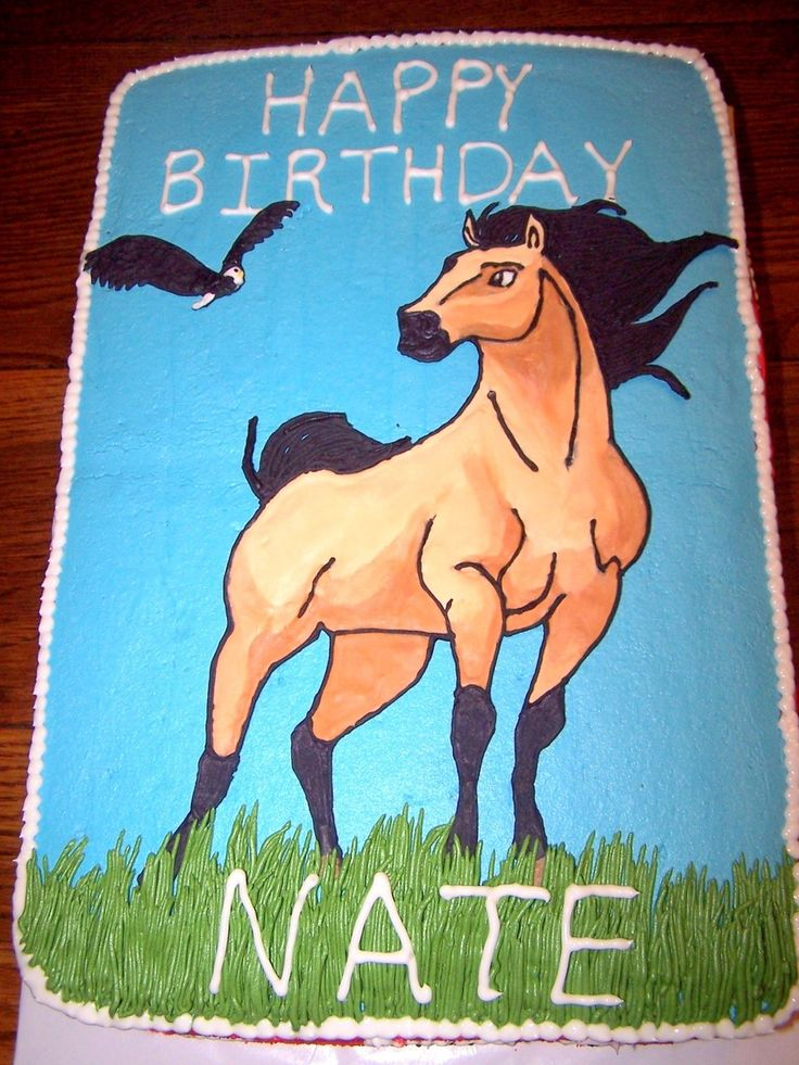 Horse Cake Featuring Spirit This cake was made for a western birthday with the request to have