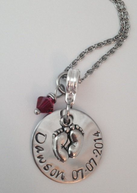 Personalized New Baby Mommy Necklace with name and by 3littlegems, $32.00