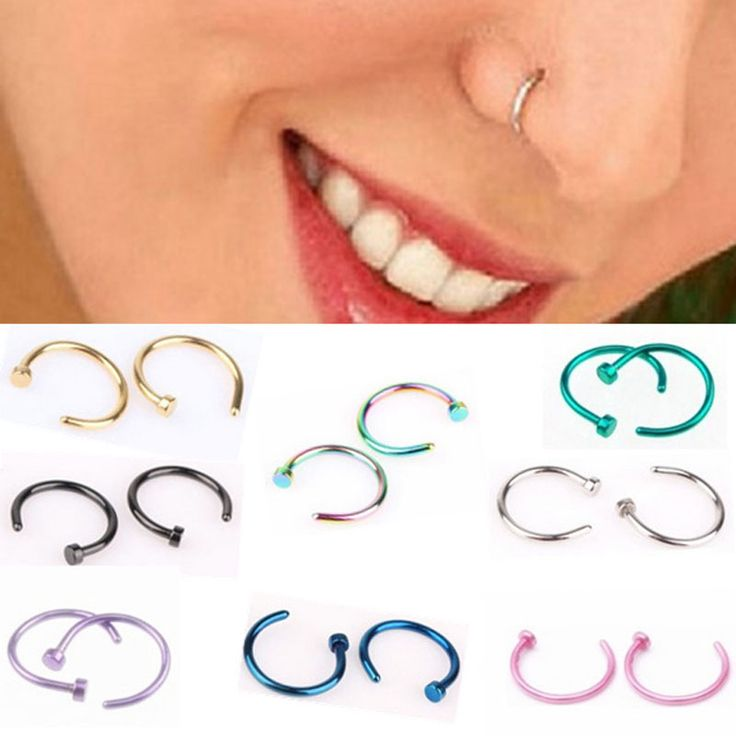 2 PCS Fashion Clip on Nose Ring Ear Fake Piercing Punk Goth Stainless Steel Hoop Earrings Septum Body Piercings Tragus Jewelry