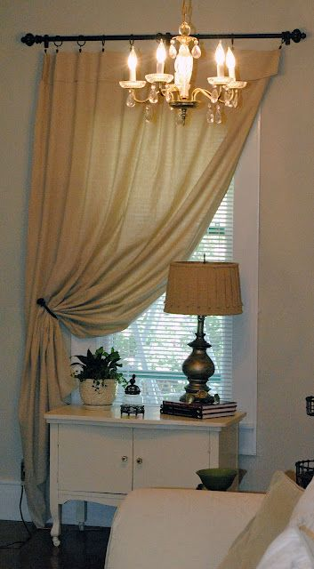 Drop Cloth Curtains - love the privacy this offers while still letting in light