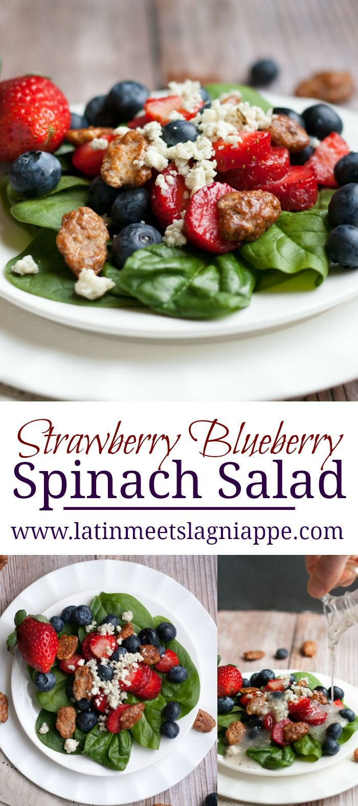 This tasty Strawberry Blueberry Spinach Salad is delicious,  topped with seasonal berries and a bit of Gorgonzola. It's perfect for lunch or dinner!