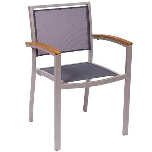 BFM Seating Delray Aluminum Outdoor Restaurant Arm Chair - These stylish BFM Seating outdoor restaurant chairs are built with an aluminum frame and batyline stretched rigid fabric back and seat. Aluminum metal restaurant chair arms with wood accents provide an attractive look to suit your restaurant's style. Offered in a variety of color combinations, each restaurant chair also features a stackable design and a modern, contemporary look meeting your commercial restaurant patio furniture…