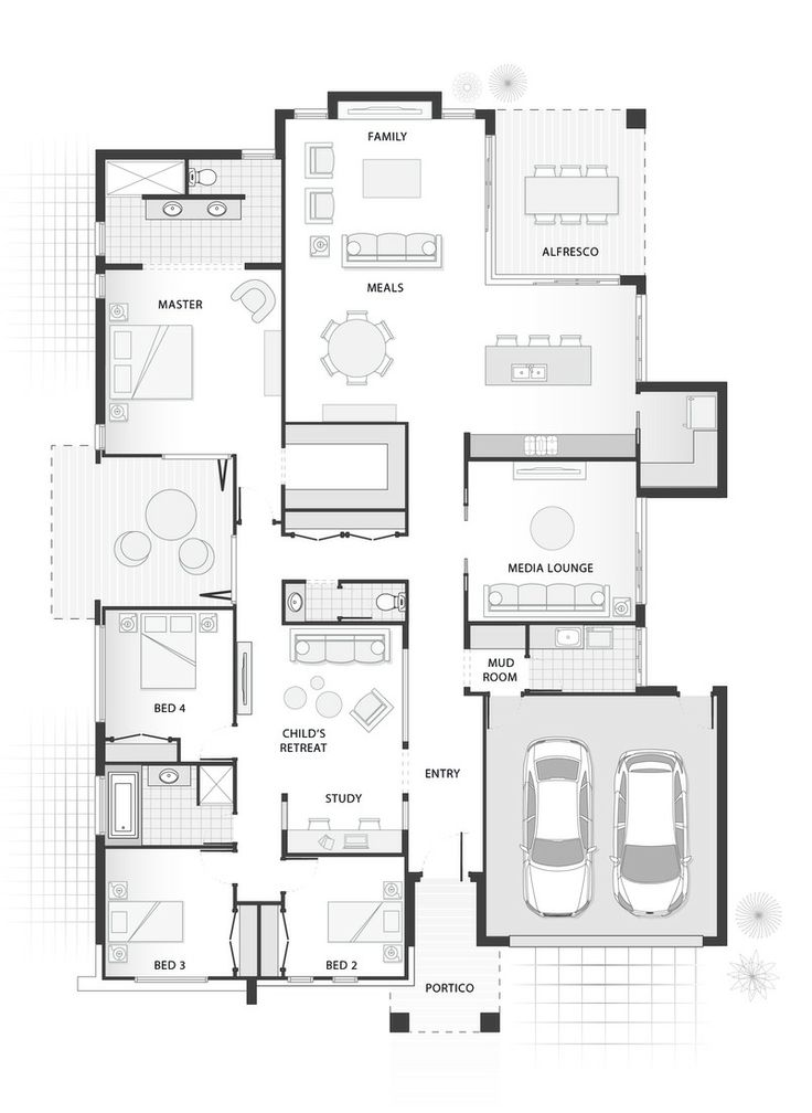 Standard floorplan for The Penn I like this plan although I HATE garages that face the front of the house.