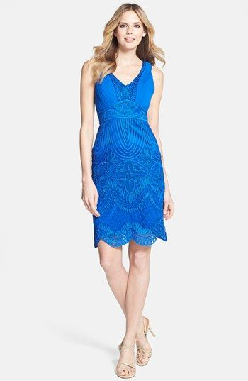 Sue Wong Soutache Embroidered Sheath Dress available at #Nordstrom