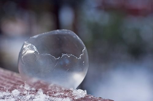 "Next winter, if your area is below 32 degrees, go outside and blow bubbles! They immediately turn into ""ice bubbles""."