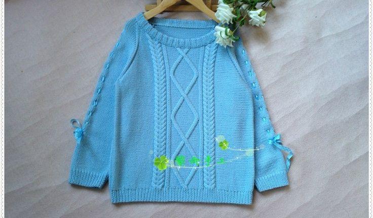 Синий пуловер спицами