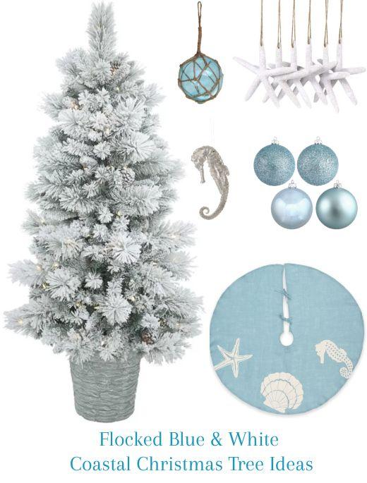 Blue  White Snowy Flocked Coastal Christmas Tree Ideas Coastal