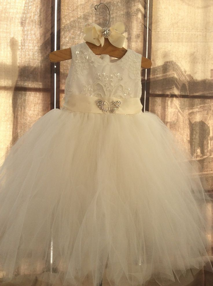Baby girl tutu dress with hair clip-couture tutu-bridal-flowergirl-Bella Baby