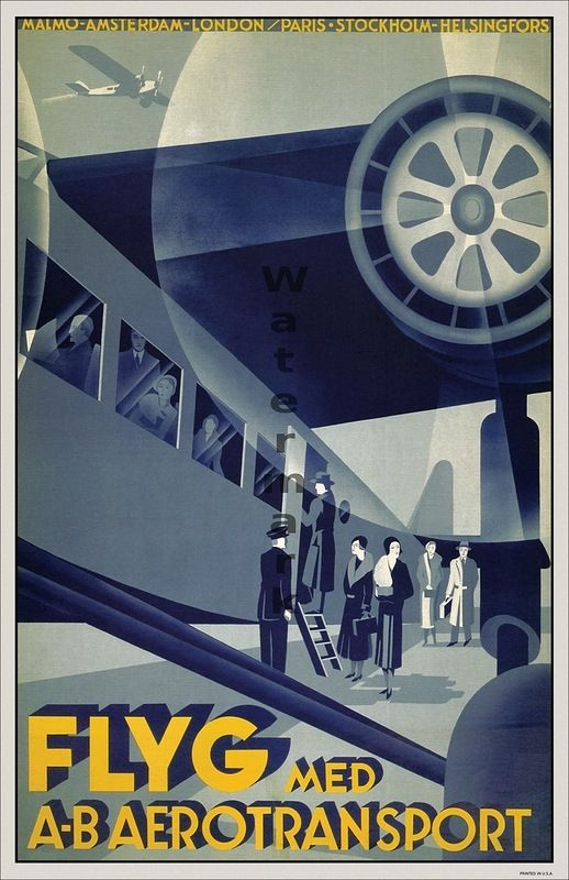 Vintage air travel poster ~Repinned Via Lars Aleth