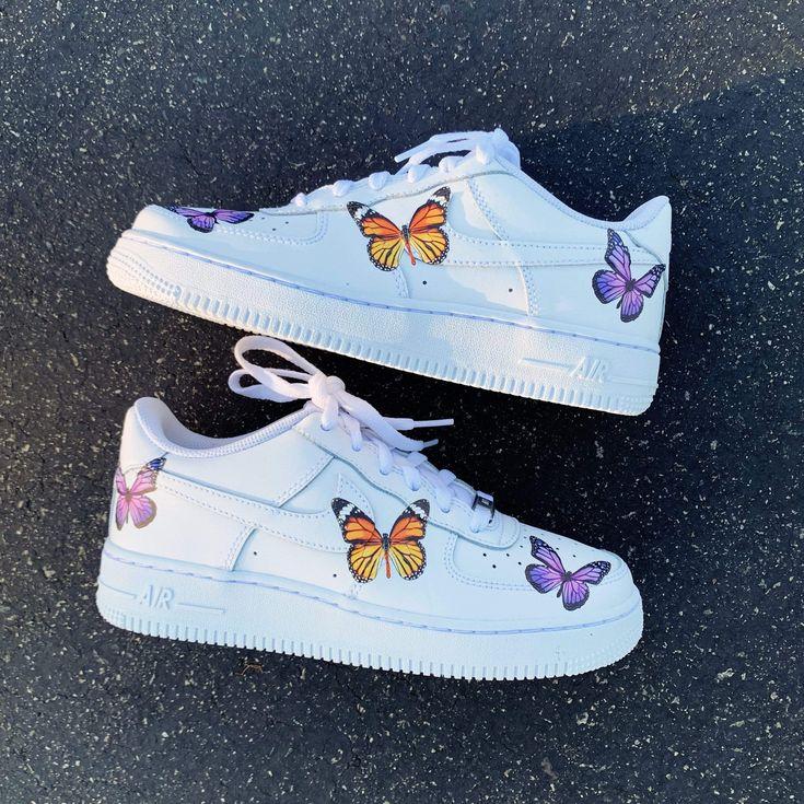 Monarch/Purple Butterfly AF1 in 2020 Custom nike shoes