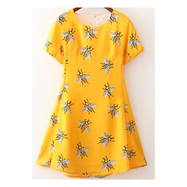 SheIn(sheinside) Yellow Short Sleeve Bee Print Dress (28 NZD) ❤ liked on Polyvore featuring dresses, yellow, going out dresses, short party dresses, a line dress, party dresses and short summer dresses