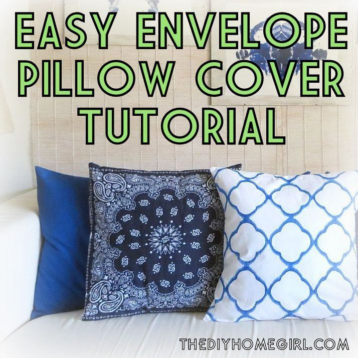 Easy envelope back pillow cover pattern and tutorial IKAT BANDANA BLUE NAVY COBALT