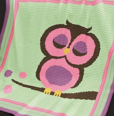 Crochet Pattern   Baby Blanket / Afghan - Pink Owl