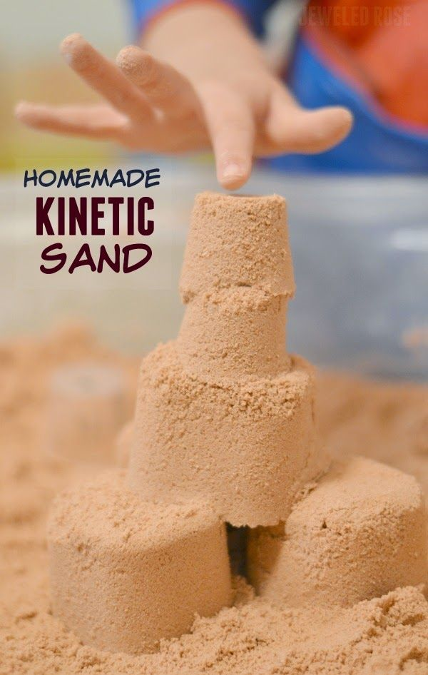 Homemade kinetic sand- Squishy, mold-able, & lots of fun!  Why waste your money on the store bought stuff when you can easily make this recipe at home!