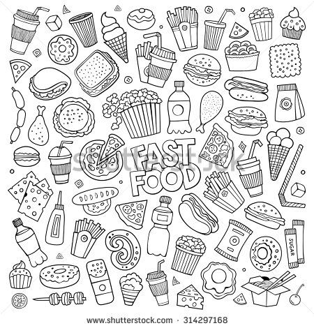 stock-vector-sketchy-vector-hand-drawn-doodle-cartoon-set-of-objects-and-symbols-on-the-fast-food-theme-314297168.jpg (450×470)