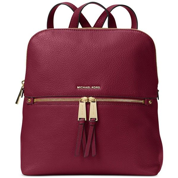 Michael Michael Kors Rhea Medium Slim Backpack ($258) ? liked on Polyvore  featuring bags