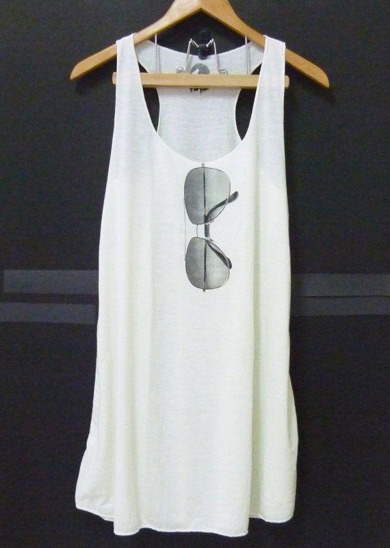 Cute eyeglass art off-white long Tank Top dress sleeveless size XS,S shirt blouse,Teen shirt,Women t shirts  polyester cotton blend