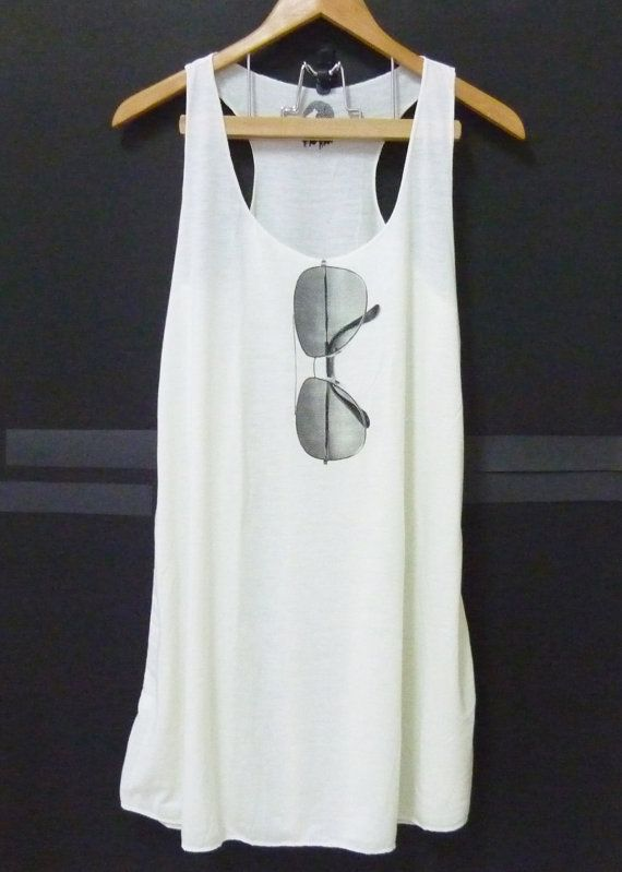 Cute eyeglass art off-white long Tank Top dress sleeveless size XS,S shirt blouse,Teen shirt,Women t shirts  polyester cotton blend