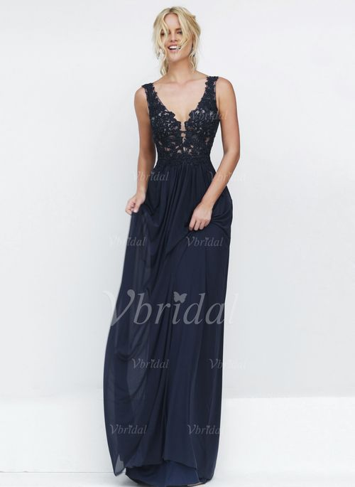 Prom Dresses - $166.67 - A-Line/Princess V-neck Sweep Train Chiffon Prom Dress With Beading Appliques Lace (0185092988)