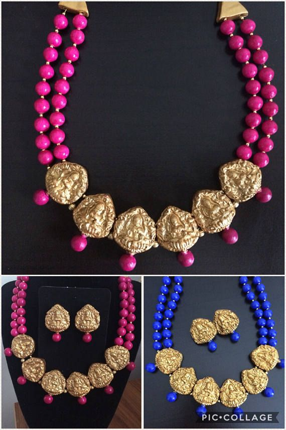 Goddess lakshmi choker necklace Terracotta necklace Temple