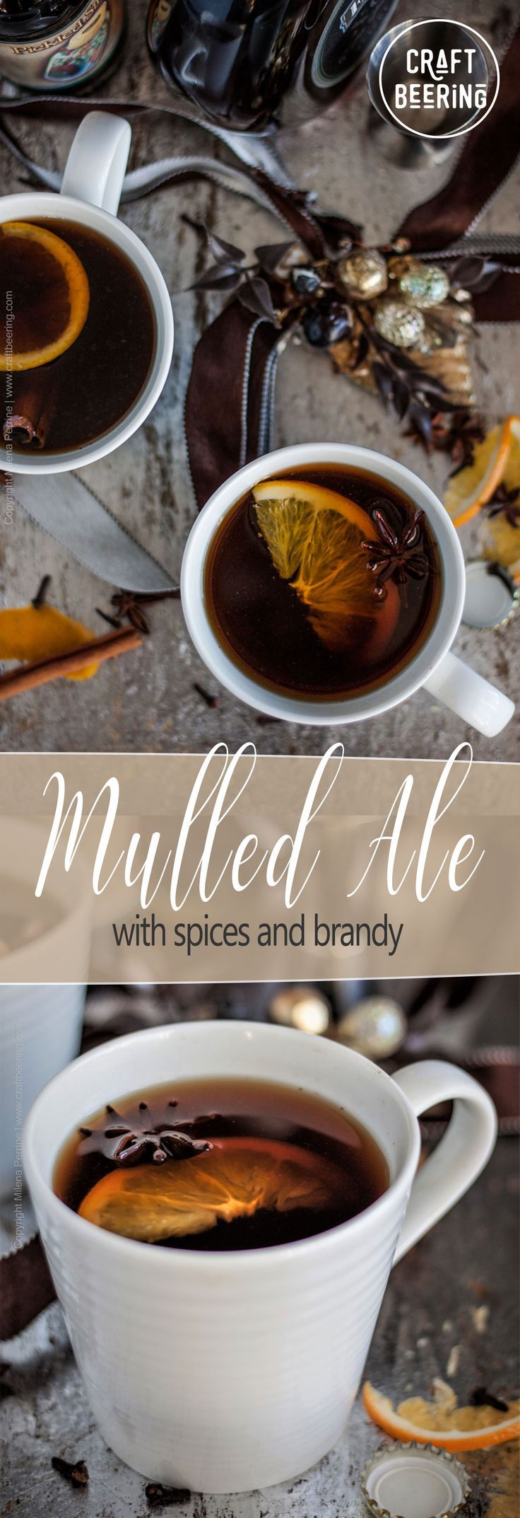 Mulled ale with spiced and brandy. A cup full of mulled beer (sweetened, spiced and fortified) is sure to warm your body and your soul! #mulledale #mulledbeer #warmedale #mulledwine #christmasale