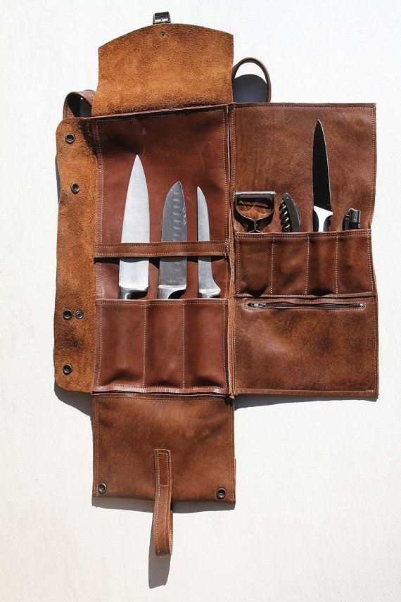 Chef Knives Backpack  A uniqeu backpack for chefs how like to wear their own knives. A flat backpack with 3 leather cells for professional knives (get
