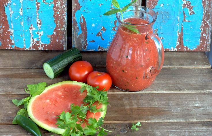 Watermelon Gazpacho topped with creamy Apetina sauce