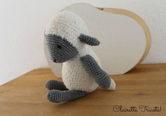 Mouton Frimousse tuto gratuit Oh bout du fil! Réalisation Clairette Tricote! / cute little crochet sheep
