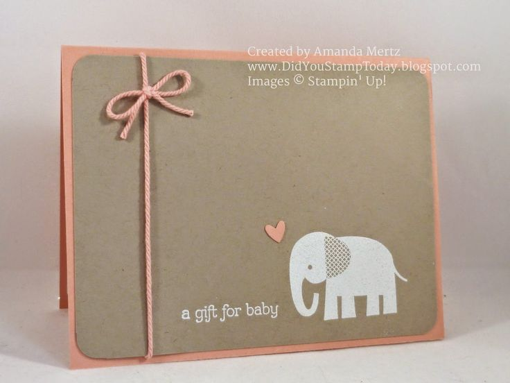 handmade baby card from Did You Stamp Today? ... clean and simple ... kraft and…