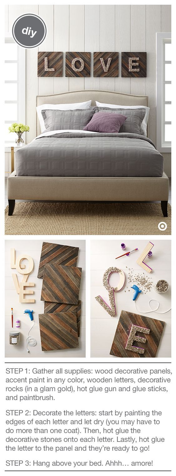 4 Cool Typography Wall Art with Glittered Wood Love Letters Over Wood Panels