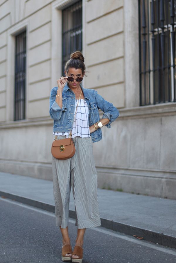 spring / summer - street style - street chic style - summer outfits - beach outfits - windowpane cami top + grid print cami top + denim jacket + navy and white pinstripe culotts + brown flatform sandals + tan saddle shoulder bag + brown round sunglasses