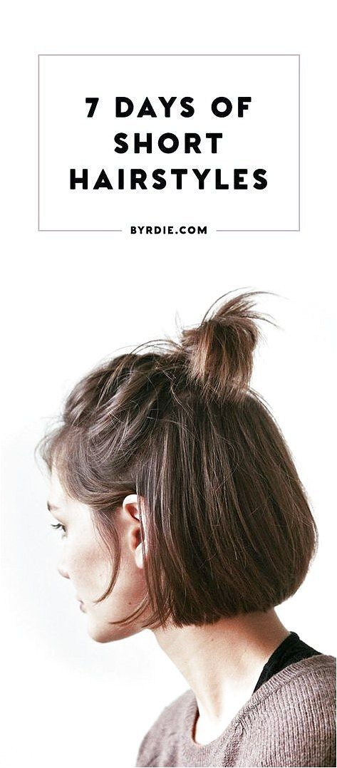 Short hairstyles for everyday of the week that are Super Simple, Easy, Quick, and Totally DIY. Try them With Braided Hair, With Bangs, With Curly Hair...
