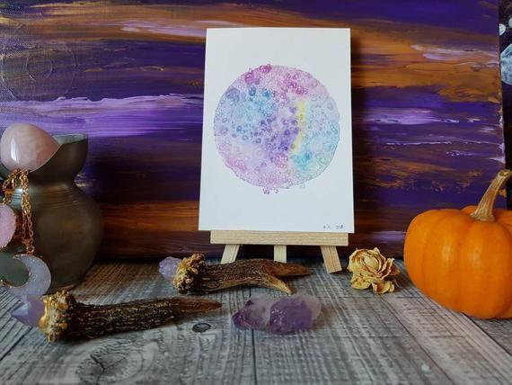 Lune Magique Peinture Aquarelle Sur Papier Carte Postale Oeuvre