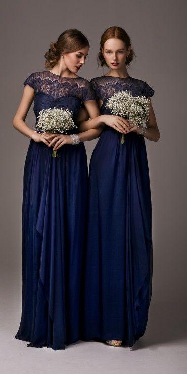 Beautiful navy bridesmaids dresses - indianna lace maxi