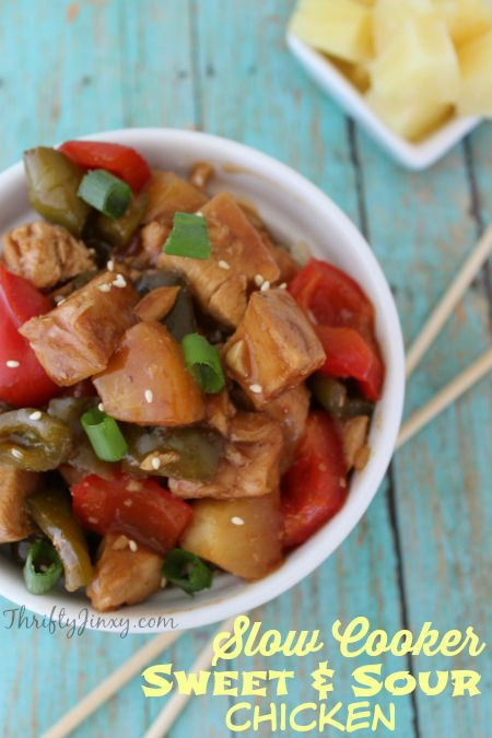 This Slow Cooker Sweet and Sour Chicken Recipe makes a delicious and easy meal in your crockpot. Serve it up with a side of rice for a complete meal. #SlowCooker #Crockpot #ChickenRecipes #EasyDinner