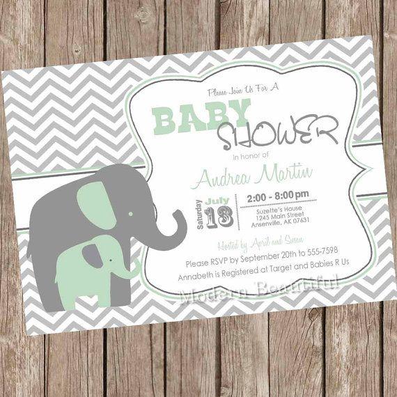 Green and grey chevron baby shower invitation