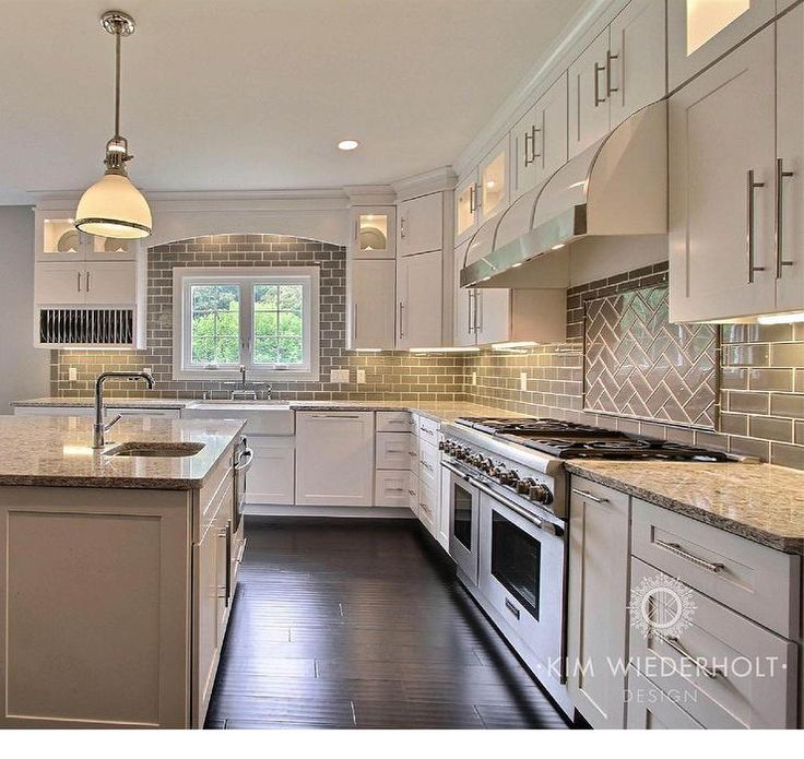 Gray And White Kitchen Design With Shaker Cabinets Gray