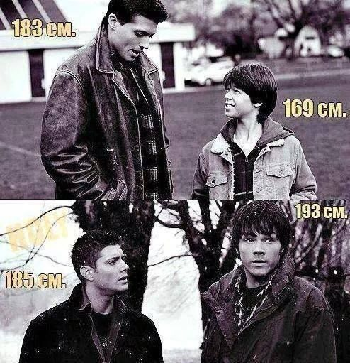 Well actually Jensen Ackles is 186 (6'1 1/4) and Jared Padalecki is 194 (6'4 1/2) and Jensen once said Jared is (6'5) not (6'4).