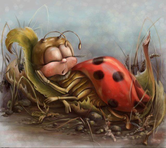 укладка или рисунки прикольных насекомых самом пике