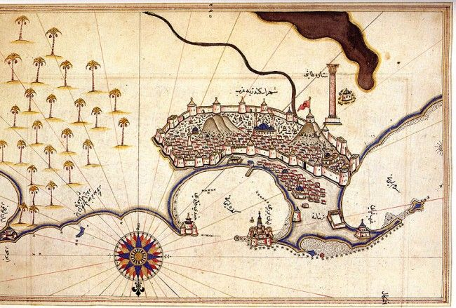 The Maps of Piri Reis: The Ottoman Admiral Piri Reis (ca. 1470 – 1553/4) compiled his Book on Navigation in 1521 – it contains detailed information on navigation, and includes accurate charts and maps of Europe and the Mediterranean area. He included maps of ports such as Istanbul, Venice and Alexandria (which is displayed above). He also produced two maps of the world, the first in 1513 and the second in 1529.