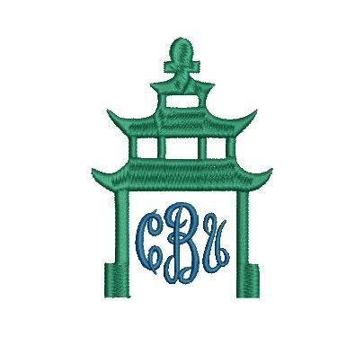 This listing is for the Pagoda frame only not the monogram font. The font is just pictured as an example.  This is an embroidery file, NOT a patch. You must have an embroidery machine to use these designs. PLEASE NOTE: This design is made for a 4x4 5X7 hoop. 2 SIZES 7 FORMATS: .pes, .xxx, .jef, .exp, .vip, .dst, .hus   All designs are available for instant download!   Due to the electronic nature of the product refunds are not offered.  Please note that I am not responsible for the quality…