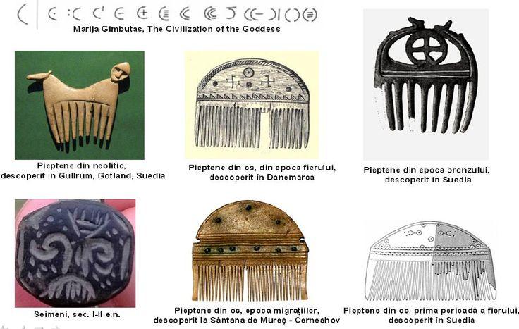 Pieptene - Asociat cu vulva, cu apele curgătoare, simbol al succesului şi abundenţei. Atestat în neolitic şi în toate perioadele următoare. Linii paralele - ploaie sau cursuri de apă