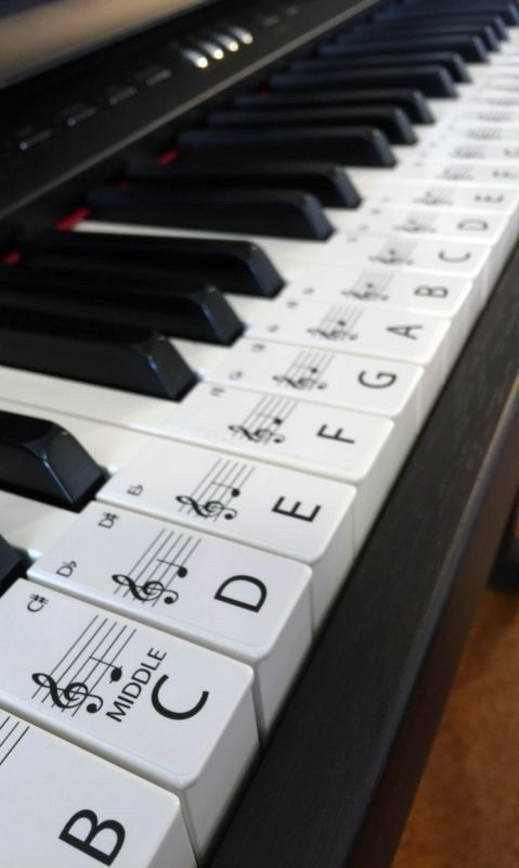 Keyboard / Piano Stickers up to 61 KEYS the best way to learn Piano
