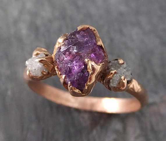 This raw purple diamond trio ring. | 43 Stunning Rose Gold Engagement Rings That Will Leave You Speechless