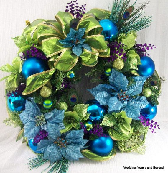 STUNNING  XLG PeaCoCK CHRiSTMaS WReaTH LiMe GReeN, PuRPLe aND BLue