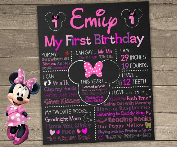 Hey, I found this really awesome Etsy listing at https://www.etsy.com/ca/listing/217963303/minnie-mouse-first-birthday-chalkboard